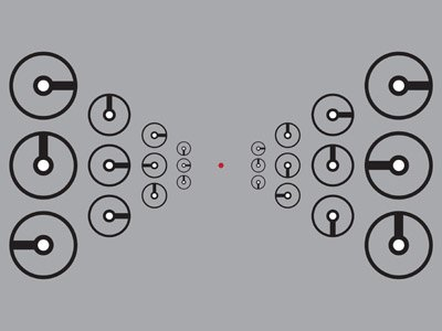 Peripheral vision test image: clocks left and right