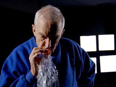 Channel 4 presenter Jon Snow inhaling cannabis