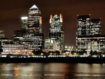 Canary Wharf at night