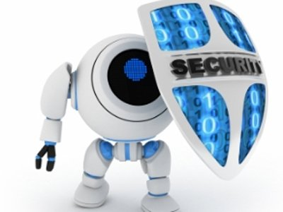 cyber security - graphic of a robot with a shield