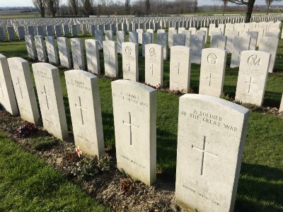 Graves at Tyne Cot Commonwealth War Graves Cemetery outside Passchendale, Belgium © Rob Eagle