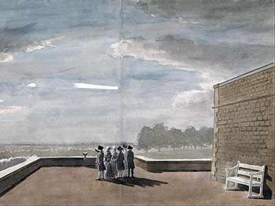 Paul Sandby, The Meteor of August 18, 1783, as seen from the East Angle of the North Terrace, Windsor Castle