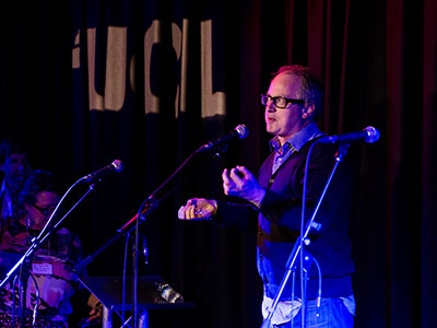 Robin Ince at the Bloomsbury Studio launch