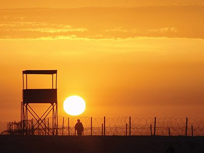 Sunset over a prison
