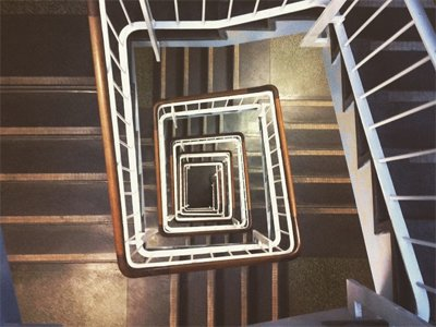 A stairwell in the UCL Institute of Archaeology