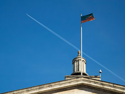 UCL flag and portico
